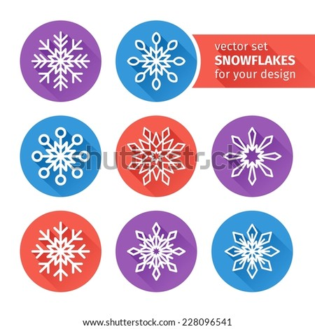 set of icons of snowflakes flat design. Vector - stock vector