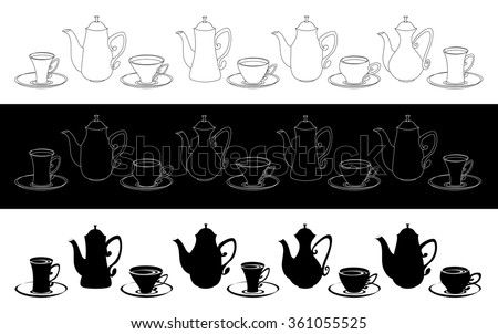 Set of icons of teapots, coffee pots and cups.  Black and white tableware for tea and coffee. - stock vector