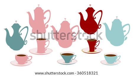 Set of icons of teapots, coffee pots and cups. Differently colored tableware for tea and coffee. - stock vector