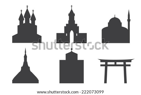 Set of icons of temples. Churches, pagoda, sin to, Jewish synagogal, mosque. - stock vector