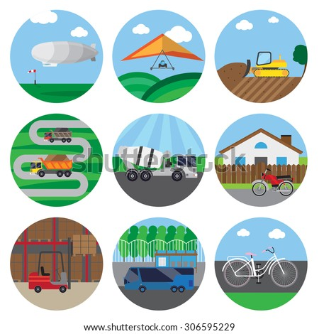 set of icons of transport. It contains zeppelin, concrete mixer truck, forklift, pallet, rack, box, bike, bulldozer and more.  The icons in circles with background objects. - stock vector