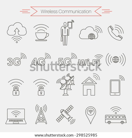 Set of icons of wireless communications. Home and mobile networks. Cloudy storage. Internet cafe. Satellite communication. Thin line style. Vector element of graphic design - stock vector