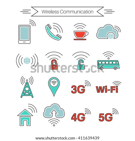 Set of icons of wireless communications. Home and mobile networks. Cloudy storage. Internet cafe. Thin line style. Vector element of graphic design - stock vector