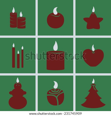Set of icons on a theme Candles