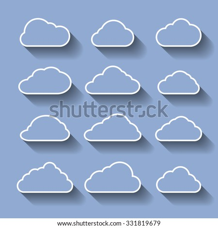 Set of icons on a theme Clouds with shadow
