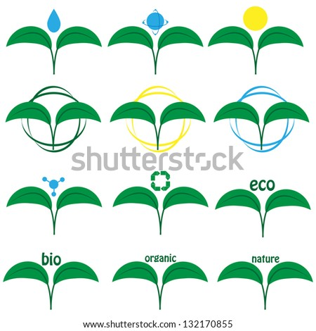 set of icons on a theme ecology - stock vector