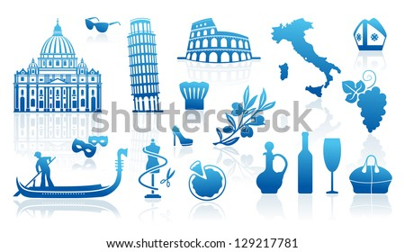 Set of icons on a theme of travel to Italy - stock vector