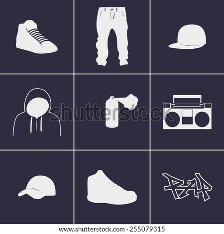 Set of icons on a theme rap - stock vector