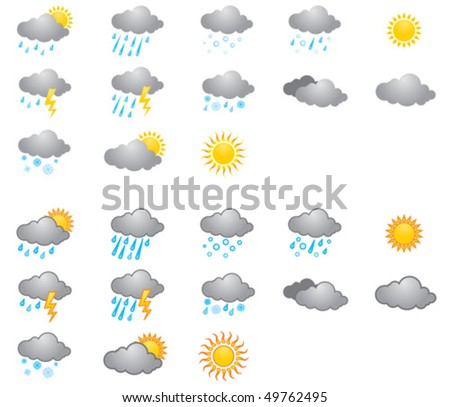 set of icons on a theme Weather - stock vector