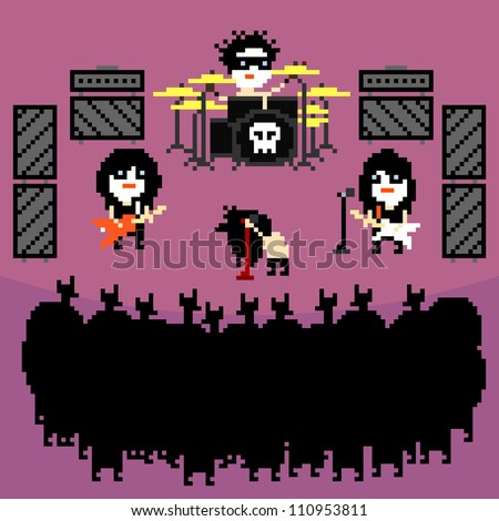 Set of icons on black metal rock band theme in pixel art style, vector illustration - stock vector