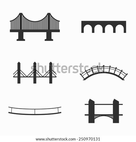Set of icons on bridges theme