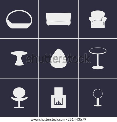 Set of icons on  furniture theme