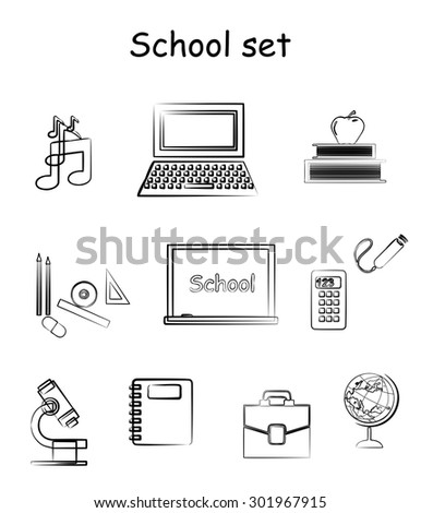 set of icons on the subject of education and school. - stock vector