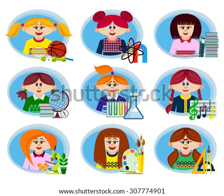 Set of icons on the theme of education and learning in the secondary school and College. Schoolgirls in the classroom. Symbols of school subjects and educational equipment. Flat style. Vector - stock vector