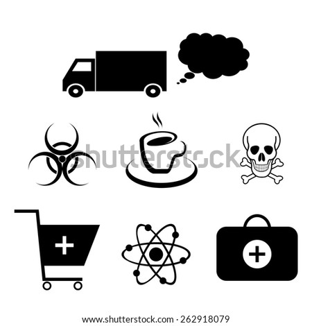 Set of icons on the theme of health hazards. - stock vector