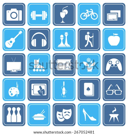 set of icons on the topic leisure - stock vector