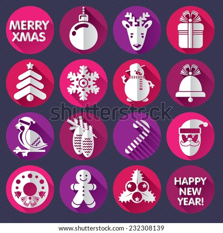 Set of icons or cards for Xmas and New Year  - stock vector
