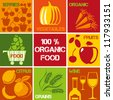 Set of icons �¢?? 100% organic and healthy food. Logos set for organic market. - stock vector