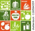 Set of icons: organic and healthy food. Logos set for organic market. - stock vector