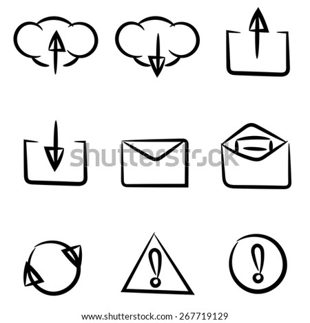 Set of icons painted by hand. Can be used in web or mobile software. Black and white. Clean and simple. - stock vector