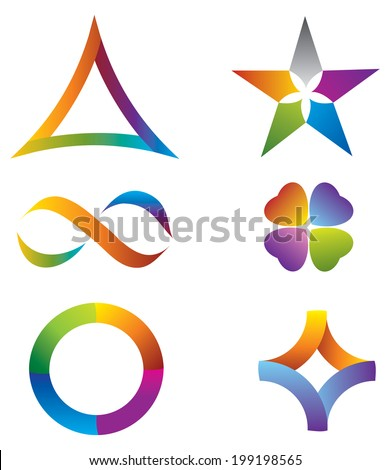 Set of Icons Rainbow Colors with Star, Infinity Symbol, Circle and Clover - stock vector