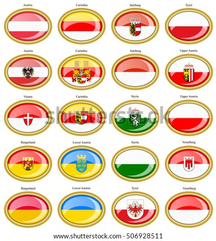 Set of icons. Regions of Austria flags. 3D.