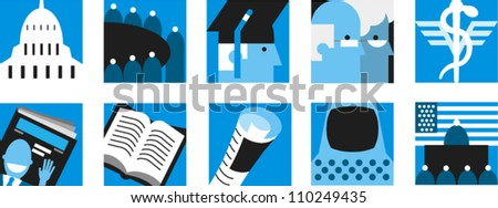 Set of icons related to government, education, heath care and information - stock vector