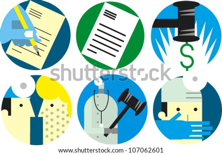 Set of icons related to medical/legal subjects