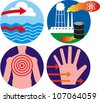 Set of icons related to the environment and exposure to contaminants - stock photo