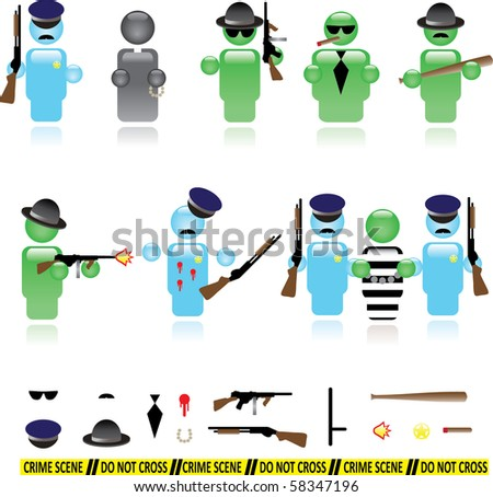 Set of icons representing mafia and police wars - stock vector