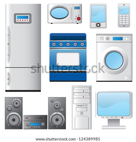 Set of icons representing major and small house appliances. - stock vector
