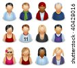 set of icons representing people - stock photo