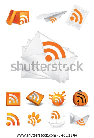 set of icons rss - stock vector