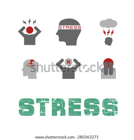 set of icons showing the stress