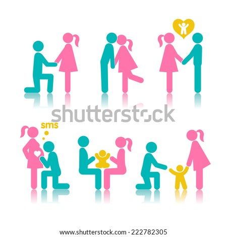 Set of icons stages of creating a family: a meeting of lovers, planning pregnancy, birth and child-rearing. - stock vector
