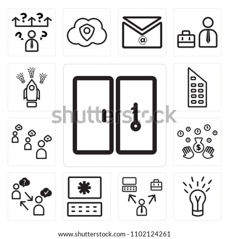 Set 13 Icons Such Key Idea Stock Vector (2018) 1102124261