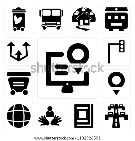 Set 13 Icons Such Map Highway Stock Vector 1102926551 Shutterstock