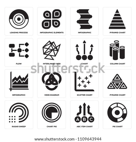 set 16 icons such pie chart stock vector 1109643944 shutterstock