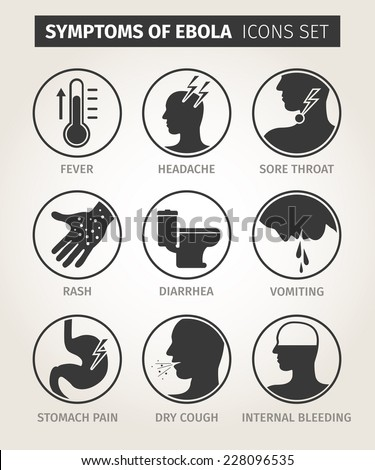 set of icons symptoms Ebola virus. Vector - stock vector