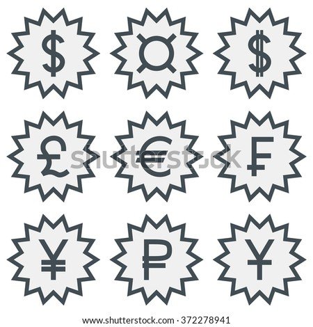 Set Icons Different Currency Symbols Stock Vector 372278941
