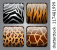 Set of icons with different types of wild animal fur textures - stock photo