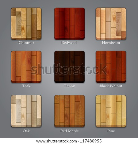 Set of icons with different types of wood textures - stock vector