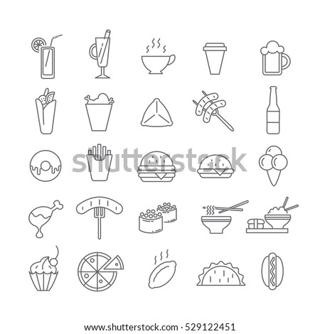 Set of icons with fast food