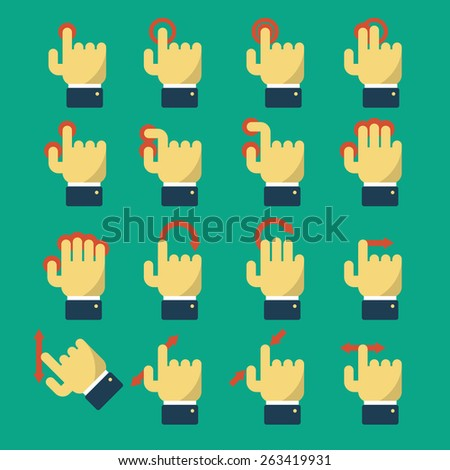 Set of icons with gestures for touch screen and multi touch devices. Pointer and hand, laptop and move. Vector illustration flat design style. For web design and apps - stock vector