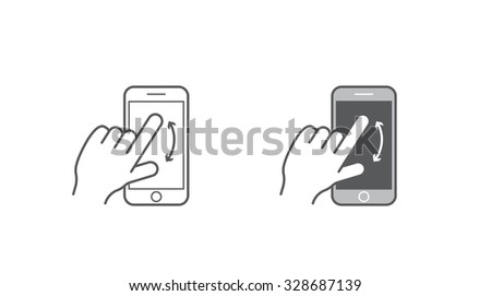 Set of Icons with Hands Holding Smart Device with Gestures - stock vector