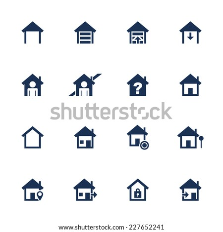 Set of icons with house symbol in flat style - stock vector