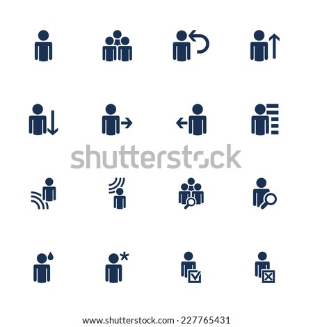 Set of icons with human figures in flat style