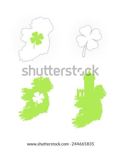 Set of Icons with Irish Symbols, Vector Illustration - stock vector