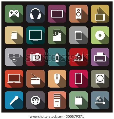 Set of icons with long shadow digital devices, vector illustration. - stock vector
