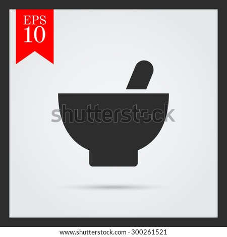 Set of icons with mortar and pestle, with text on green ribbon - stock vector